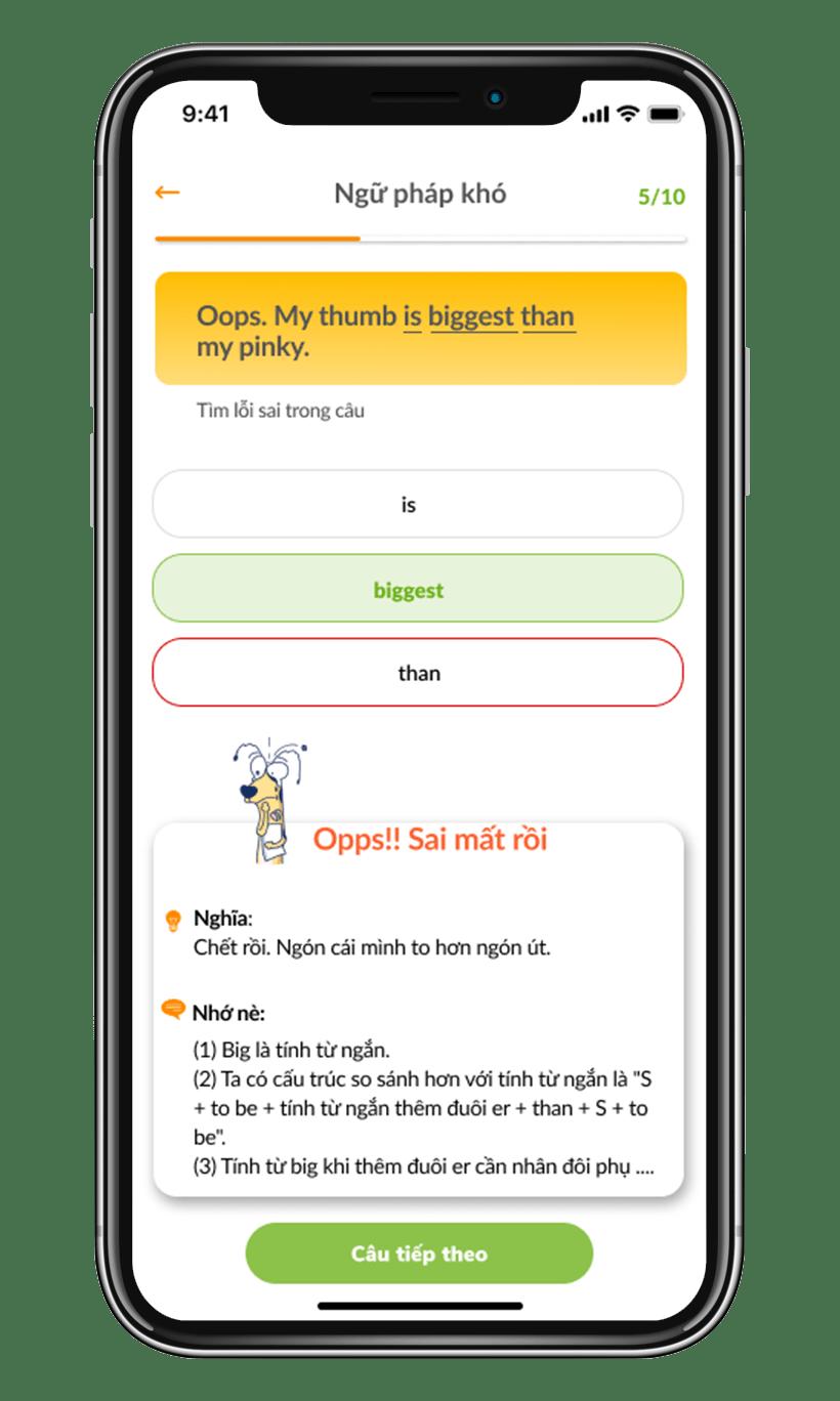 App hack não ngữ pháp
